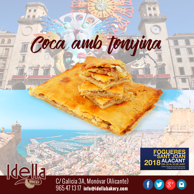 La coca amb tonyina, emblema de les Fogueres de Sant Joan en Alicante